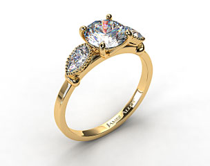 18K Yellow Gold Vintage Fluted Pear Engagement Ring
