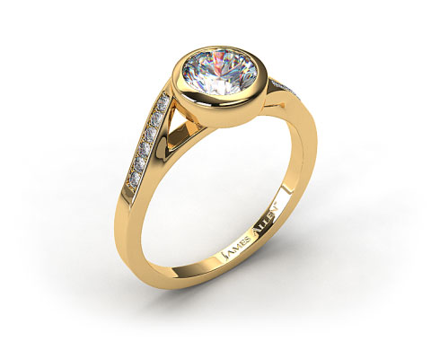18K Yellow Gold Pave Bypass Bezel Set Diamond Engagement Ring