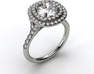 14k White Gold Diamond Split Shank Double Halo Pave Engagement Ring