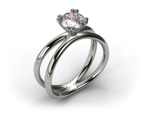 14K White Gold Criss Cross Diamond Solitaire