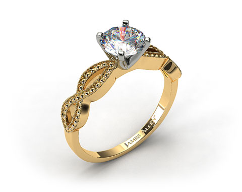 18K Yellow Gold Vintage Infinity Engagement Ring