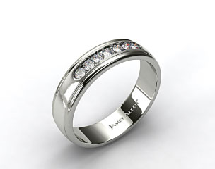 18k White Gold 6mm Channel Set Diamond Wedding Ring