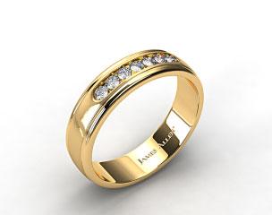 18K Yellow Gold 6mm Channel Set Diamond Wedding Ring