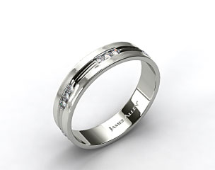 18k White Gold 6mm Etched Channel Set Diamond Wedding Ring