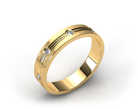 14k Yellow Gold 6mm Grooved Bezel Set Diamond Wedding Ring