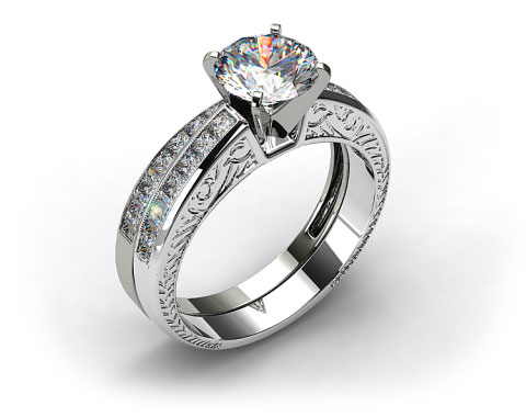 Platinum 1.05ct  Princess Cut Channel Set Engraved Wedding Set