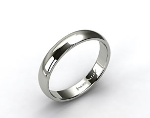 18k White Gold 5mm Slightly Domed Comfort Fit Wedding Ring