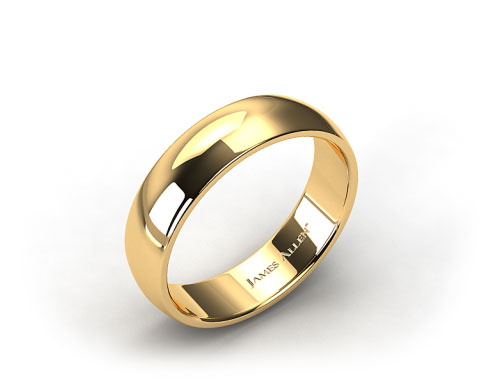 14k Yellow Gold 7mm Slightly Domed Comfort Fit Wedding Ring