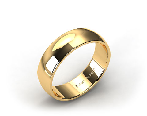 14k Yellow Gold 8mm Slightly Domed Comfort Fit Wedding Ring