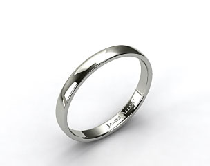 14k White Gold 3.5mm Slightly Flat Comfort Fit Wedding Ring
