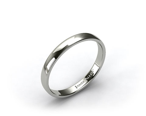 18k White Gold 3.5mm Slightly Flat Comfort Fit Wedding Ring