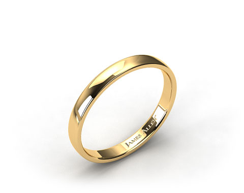18k Yellow Gold 3.5mm Slightly Flat Comfort Fit Wedding Ring