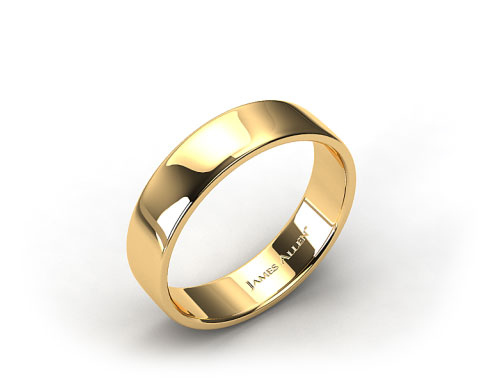 18k Yellow Gold 6.5mm Slightly Flat Comfort Fit Wedding Ring