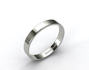 18k White Gold 4.0mm Flat Comfort Fit Wedding Ring