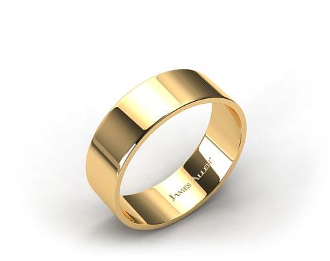 18k Yellow Gold 8.0mm Flat Comfort Fit Wedding Ring