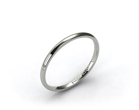 18k White Gold 2.0mm Traditional Slightly Curved Wedding Ring