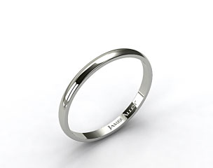 14k White Gold 2.5mm Traditional Slightly Curved Wedding Ring