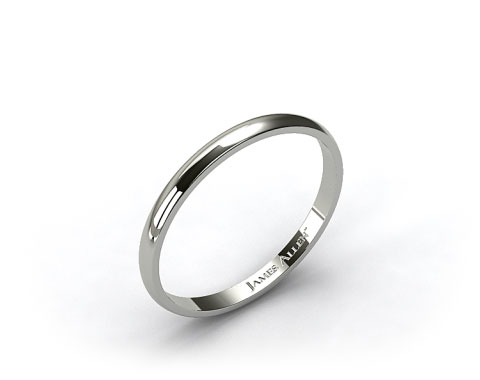 18k White Gold 2.5mm Traditional Slightly Curved Wedding Ring