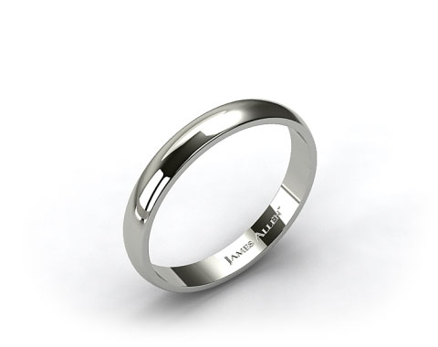 18k White Gold 4.0mm Traditional Slightly Curved Wedding Ring