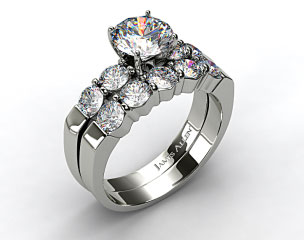 Platinum Common Prong Four Round Diamond Engagement Ring & 0.90ct Five Stone Diamond Wedding Ring