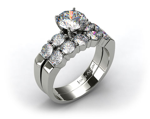 18k White Gold Common Prong Four Round Diamond Engagement Ring & 0.90ct Five Stone Diamond Wedding Ring