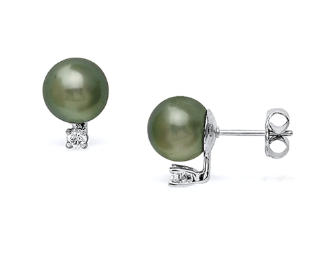 14k White Gold 8-9mm Tahitian Pearl & Diamond Stud Earrings