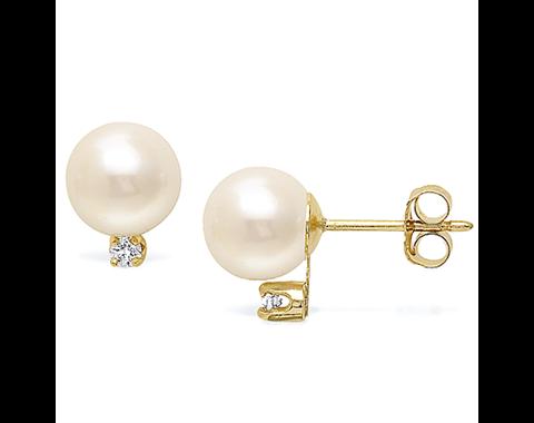 14k Yellow Gold 8-8.5mm Akoya Pearl & Diamond Stud Earrings