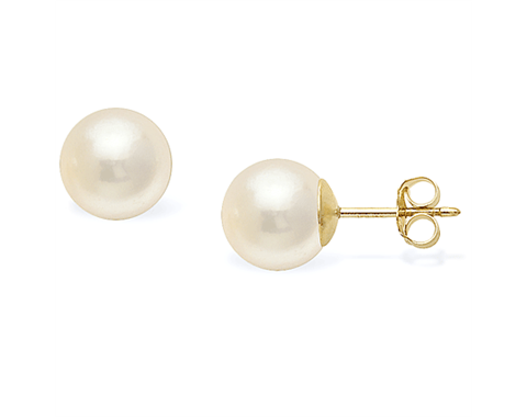 14k Yellow Gold 8mm Akoya Pearl Stud Earrings
