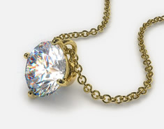 18K Yellow Gold 0.50ct F-G, VS Diamond Wire Basket Pendant