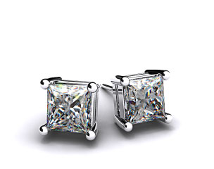 Pair of Ladies 18k White Gold 1.00 ctw Classic 4 Prong Asscher Cut Diamond Earrings