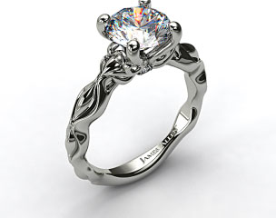 18K White Gold Diamond Accented Sculpted Designer Engagement Ring