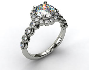 18K White Gold Diamond Floral Halo Engagement Ring