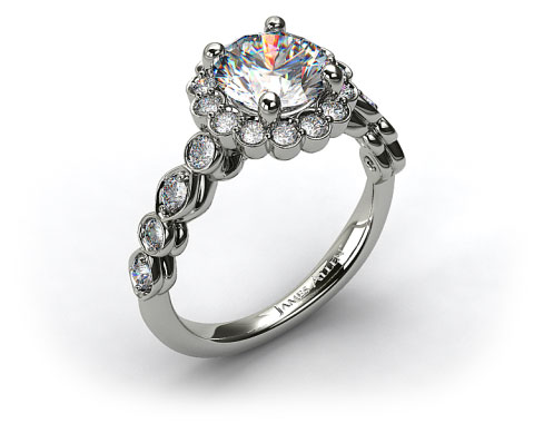 Platinum Diamond Floral Halo Engagement Ring