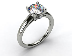 Platinum Double Pave Leaf Engagement Ring