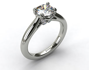 18k White Gold Diamond Studded Bezel Solitaire