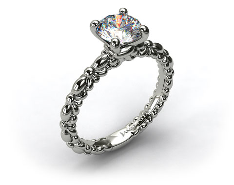 14k White Gold Crescent Ribbon Engagement Ring
