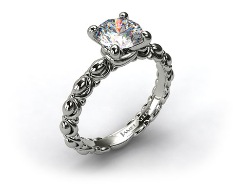 14k White Gold Tied Ribbon Engagement Ring