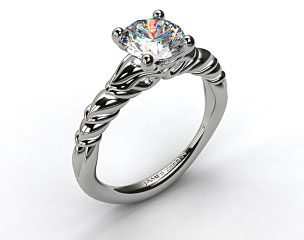 18k White Gold Cascading Trellis Engagement Ring