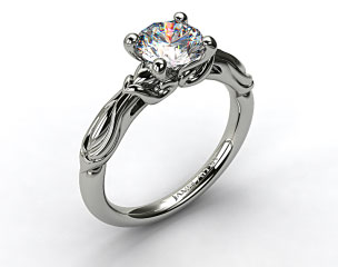 14k White Gold Wrapped Hearts Bombay Engagement Ring