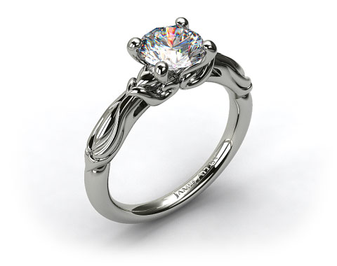 18k White Gold Wrapped Hearts Bombay Engagement Ring