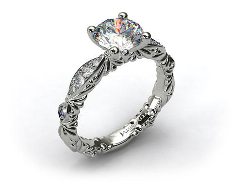 18k White Gold Single Row Pave Cascading Engagement Ring