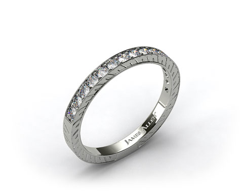 14k White Gold 0.21ct Round Pave Set Diamond Wedding Ring