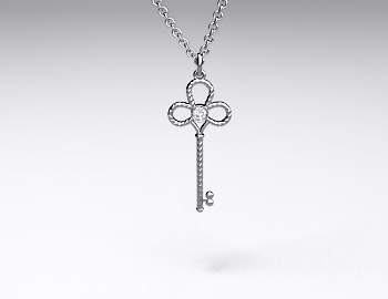 Sterling Silver Mini-Intertwined Diamond Key Pendant (0.02ctw)