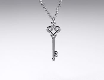 Sterling Silver Pave Scroll Key Pendant (0.04ctw)
