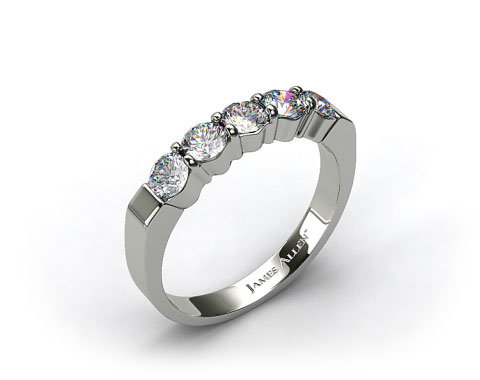 14k White Gold 0.90ct Five Stone Diamond Wedding Ring