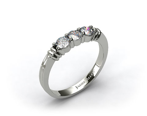 14k White Gold 0.30ct Three Stone Diamond Wedding Ring