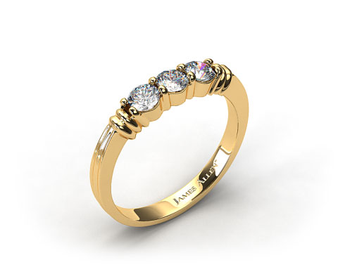 18k Yellow Gold 0.30ct Three Stone Diamond Wedding Ring
