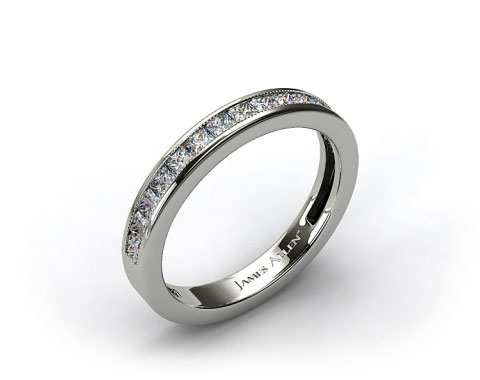 14k White Gold 0.50ct Channel Set Princess Shaped Diamond Wedding Band