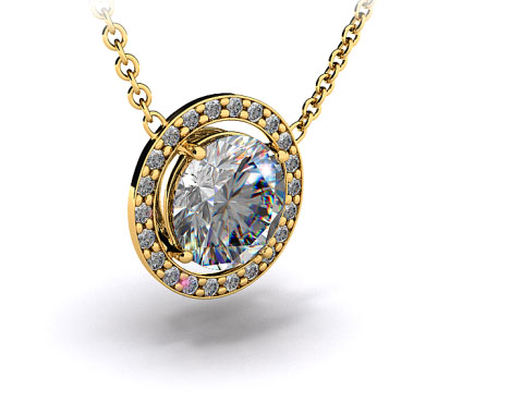 18K Yellow Gold Pave Set Frame Pendant Setting