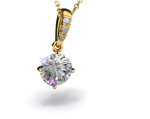 18k Yellow Gold 1.00ct H-I, SI Pave Bail Diamond Pendant